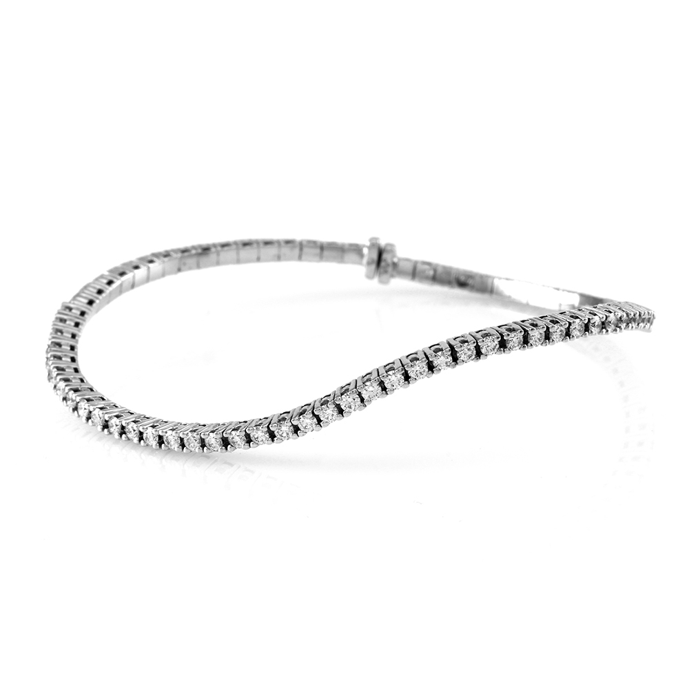 Diamond Wave Flex Bangle Bracelet in Gold