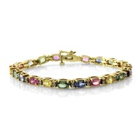 Multi-Color Sapphire Tennis Bracelet w/ Diamonds in 14K Yellow Gold