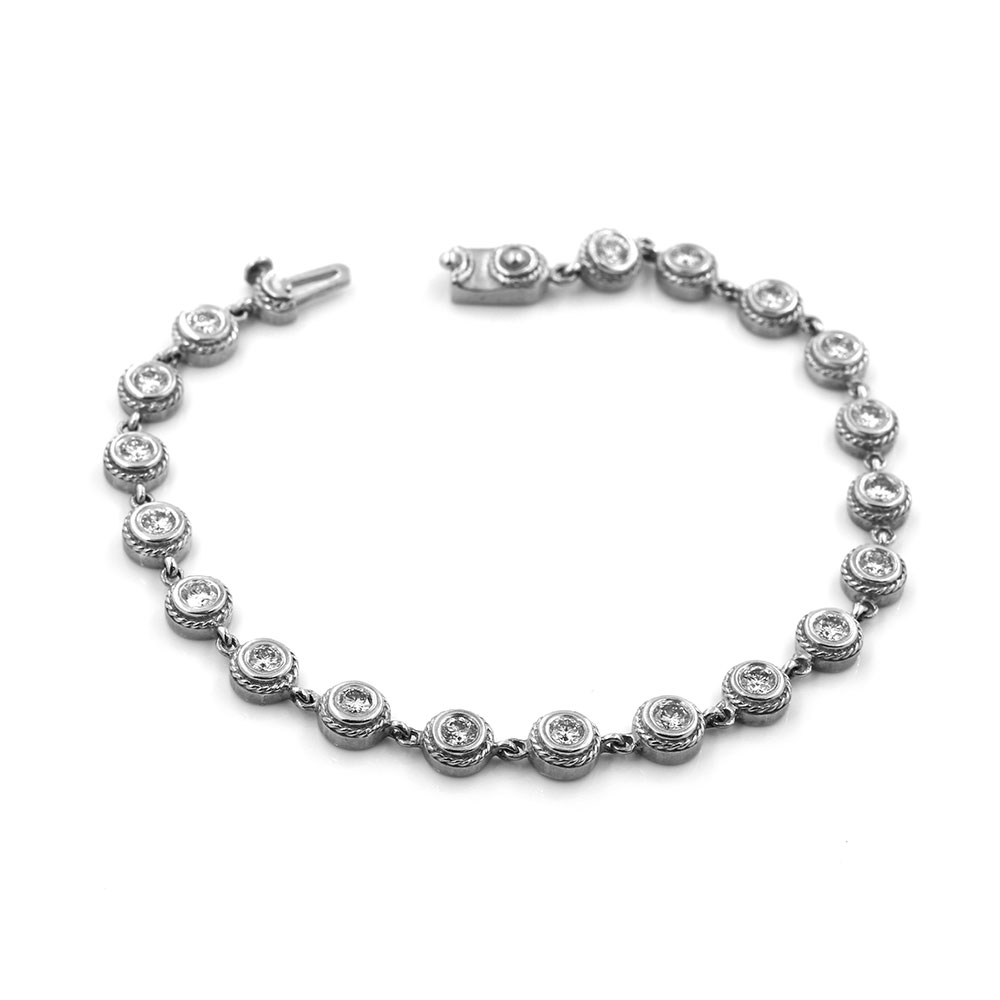 Diamond Bezel Link Gold Bracelet