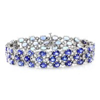 Three Row Tanzanite & Diamond Bracelet in 14K White Gold
