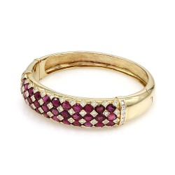 Ruby and Diamond Bangle Bracelet in Gold