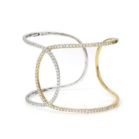Open Diamond Crossover Cuff Bracelet in Gold