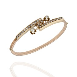 Vintage Pearl and Diamond Bangle Bracelet in Gold