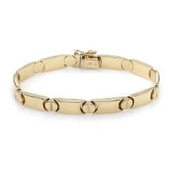 Round and Rectangular Link Bracelet in Gold