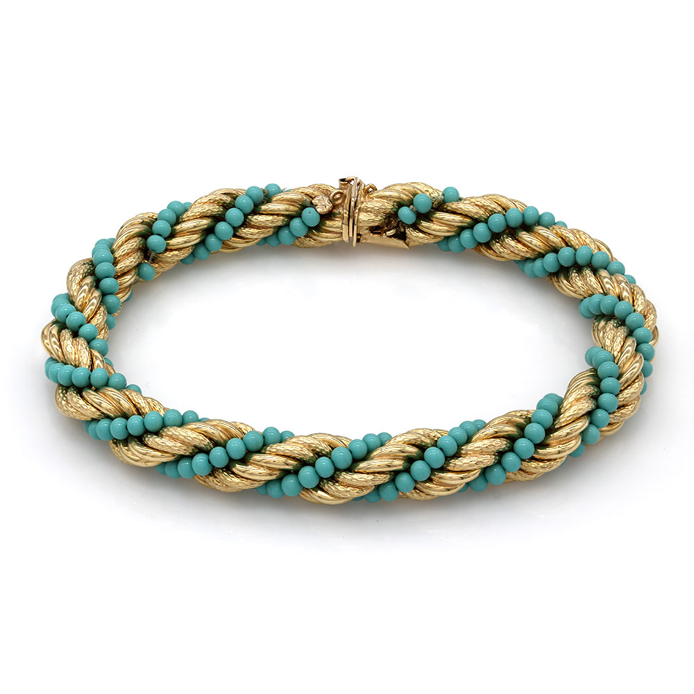 Turquoise Chain Bracelet in Gold