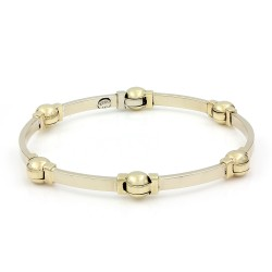 Rectangular Link and Ball Bracelet in Gold