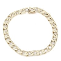 14KY Square Curb Link Chain Bracelet 8.5 IN