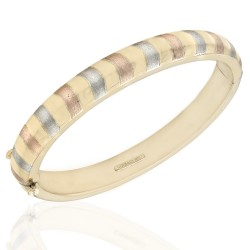 18K Hingeed Bangle with White and Rose Gold Striping