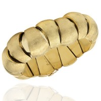 Florentine Finished, Tapered Bubble Link Bracelet in 18k Yellow Gold