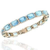 Blue Topaz and Diamond Accent Bracelet in 14KY Gold