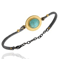 Lika Behar Oval Kingman Turquoise Hinged Bracelet in 24k and Oxidized Silver