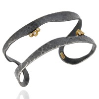Lika Behar Two Row Cuff Bracelet with Round Diamond Accent in 24k and Oxidized Silver