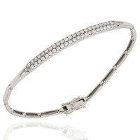 Bar Link Bracelet with Pave Round Diamonds in 18k White Gold