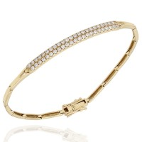 Bar Link Bracelet with Pave Round Diamonds in 18k Yellow Gold