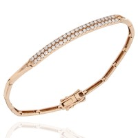 Bar Link Bracelet with Pave Round Diamonds in 18k Rose Gold