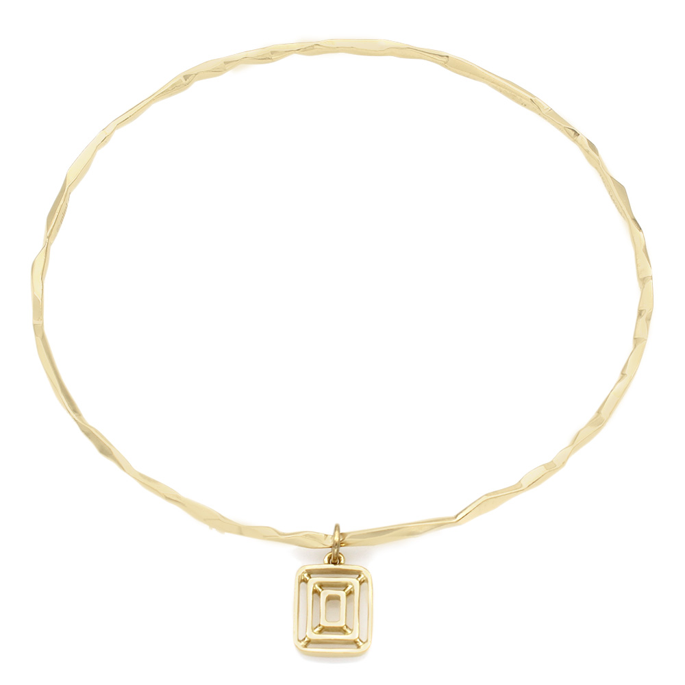 Mimi So Hammered Bangle with Charm