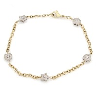 Stars and Hearts Link Bracelet with Diamonds