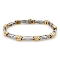 Diamond Inline X Bracelet in White and Yellow Gold