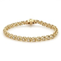 Diamond X Inline Bracelet With Heart Charm in Yellow Gold