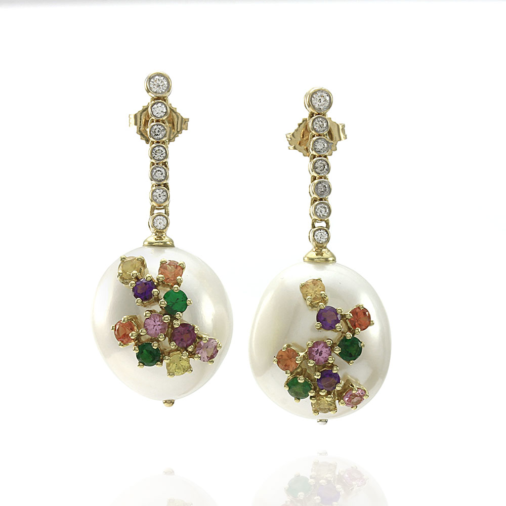 Laura Medine Rococo South Sea Pearl, Sapphire and Diamond Earrings in Gold