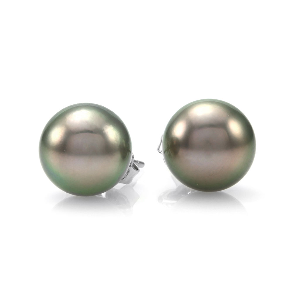 Tahitian Pearl Stud Earrings in Gold