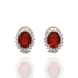 Mexican Fire Opal and Diamond Halo Earrings in Gold