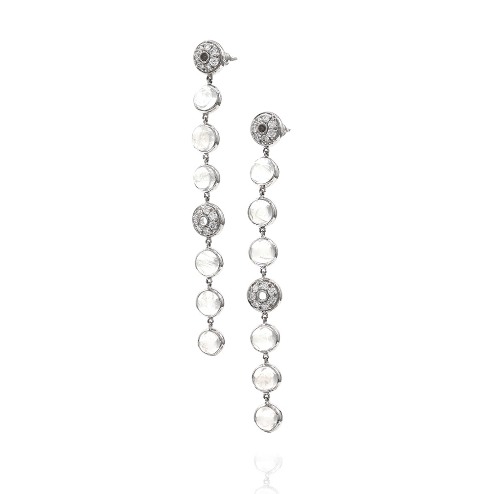Laura Medine Moonstone and Diamond Earrings in Gold