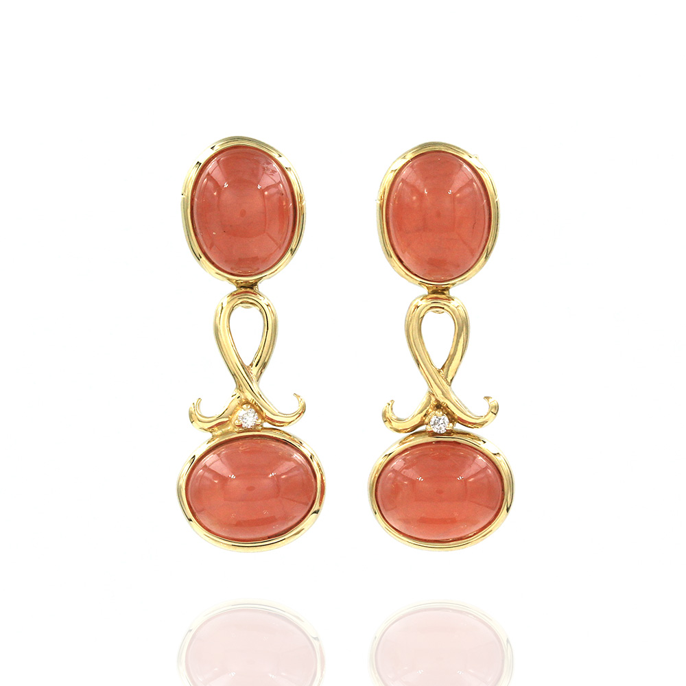 H. Stern Rhodochrosite and Diamond Earrings in Gold