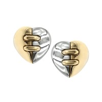 Bvlgari Dome Heart Earrings in Gold and Steel