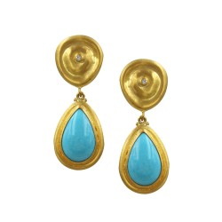 Lika Behar Roundabout Sleeping Beauty Turquoise and Diamond Earrings in Gold