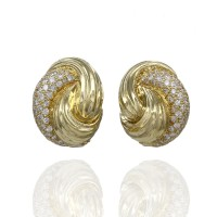 Henry Dunay Diamond and Gold Knot Earrings