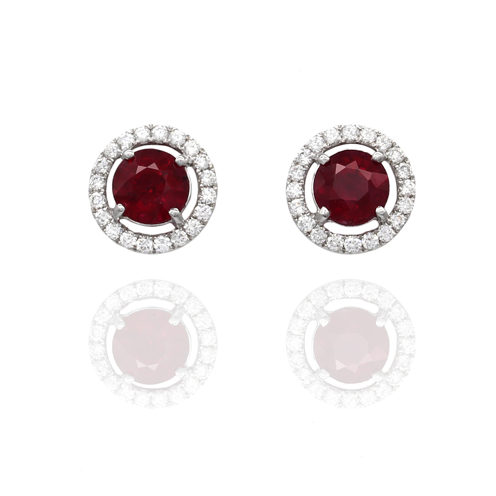 Ruby and Diamond Halo Stud Earrings in Gold