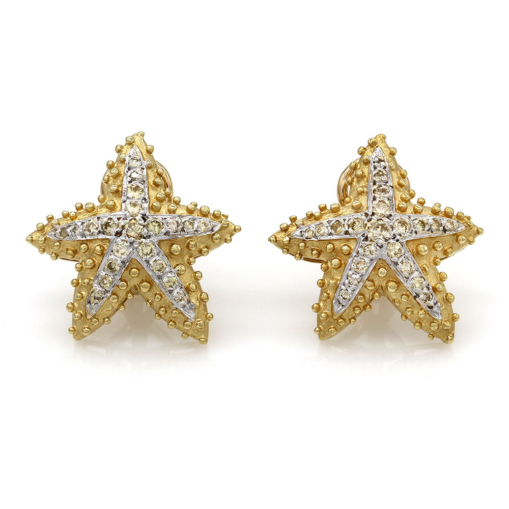 Diamond Starfish Earrings in Gold