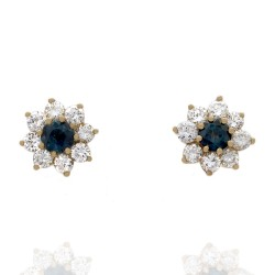 14KY Sapphire and Diamond Halo Stud Earrings
