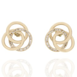 Interlocking Circle Earrings with Round Diamond Channel Circle in 14k Yellow Gold
