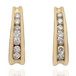 Diamond J Earrings in 14K Yellow Gold