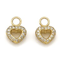 18KY Diamond Pave Heart Earring Charms