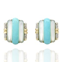 Synthetic Turquiose, Mother of Pearl and Diamond Clip On Earrings