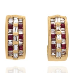 Ruby and Diamond J Hoop Earrings in 14k Yellow Gold