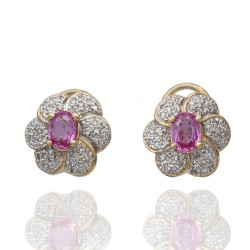 Pink Sapphire and Diamond Pave Flower Earrings