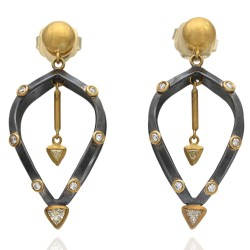 Lika Behar Trillion and Round Diamond Drop Earrings in Oxidized Silver and 18k Gold
