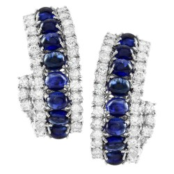 Blue Sapphire Cabochon and Diamond Earrings in Gold