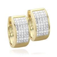 Invisible Set Princess Diamond Hoop Earrings in Gold