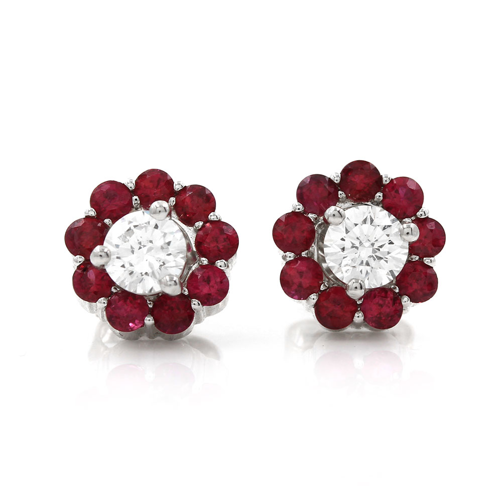 Ruby Circle Halo Earring Jackets in Gold