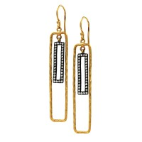 Lika Behar Quadrille Drop Diamond Earrings in Gold and Silver