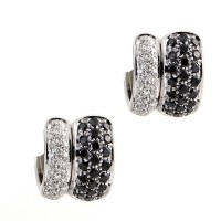 Black and White Diamond Huggie Earrings in 18K White Gold