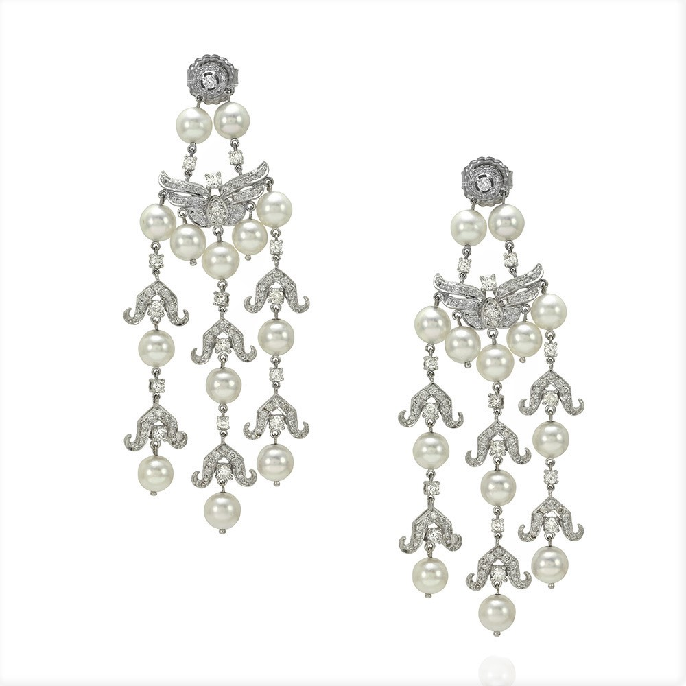 Pearl and Pave Diamond Chandelier Earrings in Gold