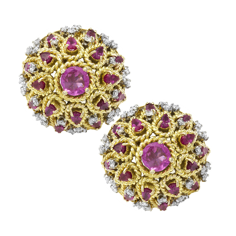 Pink Sapphire and Diamond Dome Button Earrings in Gold