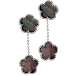 Black Mother of Pearl Clover Drop Earrings with Rope Details in 14K White Gold