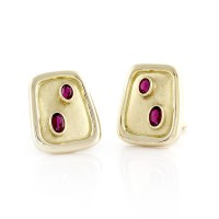 Burle Marx Modernist Tourmaline Clip-on Earrings in Gold